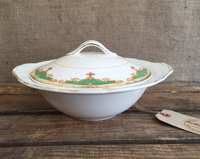 GRINDLEY GREEN PETAL Lidded Serving Tureen   1940's Ceramic Vegetable Dish   Transferware Pottery   Green and Gold China Servingware