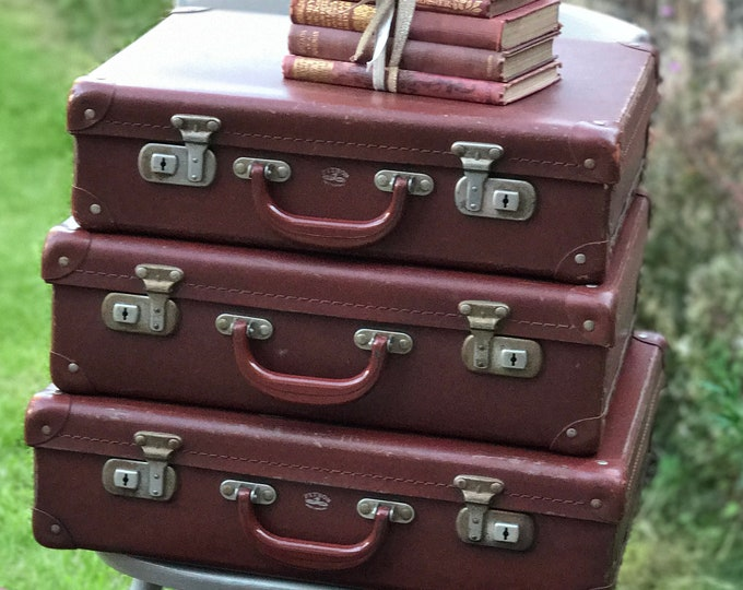Small Vintage Brown Suitcase Stack Set of 3 Old Tan Suitcases Vintage Storage Solutions Interior Design Accents Vintage Event Display