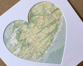 COUNTY CORK | Heart Map Gift | Ireland Heart Map | Gift for Newlywed | New Home Gift | Custom Map Art | Map Heart Gift