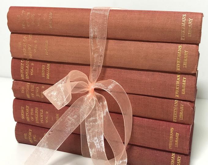Blush Pink Peach Books Ombre Blush Decor Pretty Blush and Gold Decorative Book Collection Small Vintage Book Stack Shabby Chic Decor