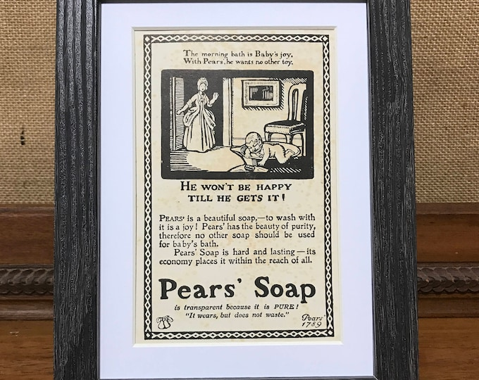 Pears Soap Advert - Vintage Book Page Wood Cut Illustration - He Wont Be Happy Till He Gets It - Bathroom Decor - Boys Room Wall Art