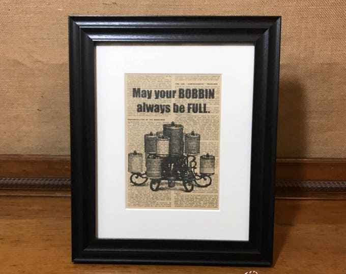 Sewing Room Print | May Your Bobbin Always Be Full | Sewing Gifts For Mom | Sewing Gifts For Dad | Sewing Room Quote | Sewing Room Sign