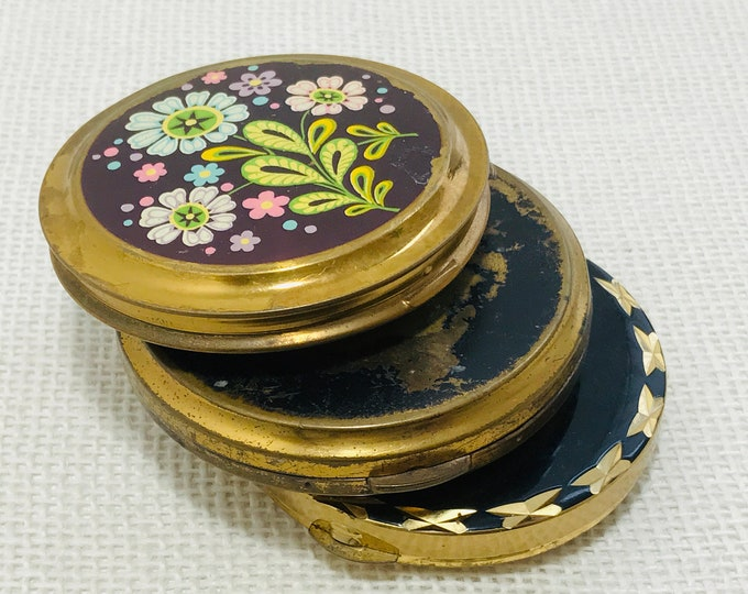 Ladies Vintage Make Up Powder Compacts with Decorative Covers Collection of 3 Mid Century Compact Mirrors