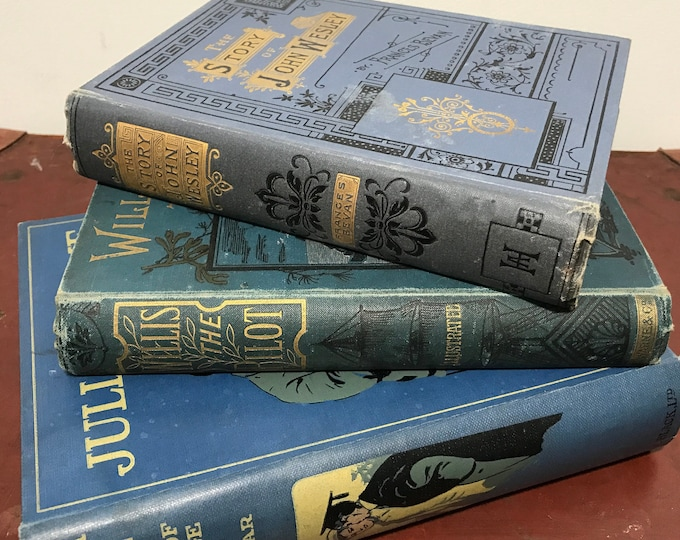 Blue Decorative Books | Antique Books | Junk Journal Books | Blue Books Decoration | Blue Books | Interior Design | Library Decor