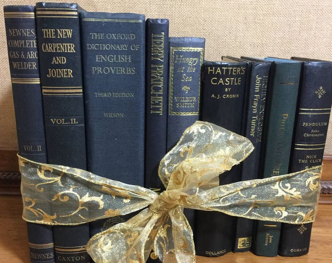 NAVY BLUE & GOLD Vintage Book Collection - Old Books Decoration - Foot Long Shelf Staging - Home Decor and Interior Design Props