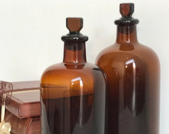 Apothecary Bottles | Vintage Bottles | Chemist Bottles | Amber Bottles | Brown Pharmacy Bottle | Collectible Glass Bottles |  Glass Bottles