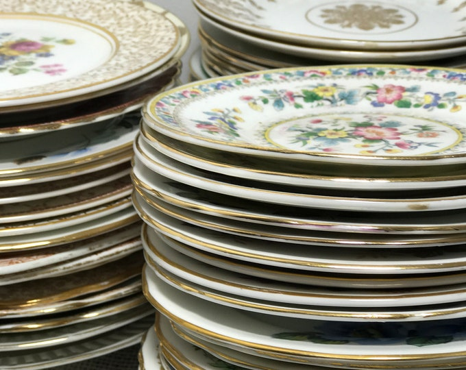 50 China Plate Stack | China Side Plates | Mix and Match Plates | Tea Party Plates | Vintage Cake Plates | China Plates | Vintage Plates
