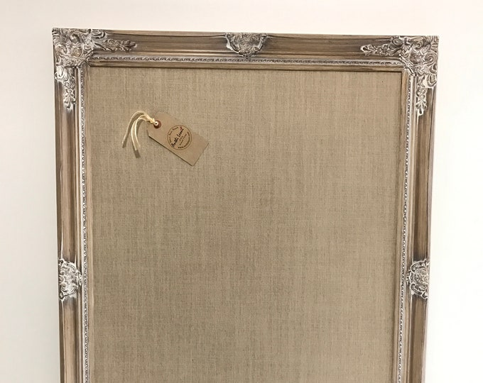 Framed Natural Linen Fabric Pin Board in Limed White Wood Extra Large Linen Pinboard Wooden Message Board Home Office Decor
