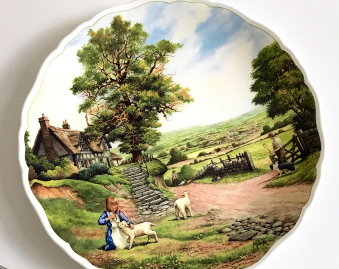 Village Life by Anthony Forster - The Village in the Vale Royal Doulton Bone China Collectors Decorative Wall Plate Shepherd Girl with Lamb