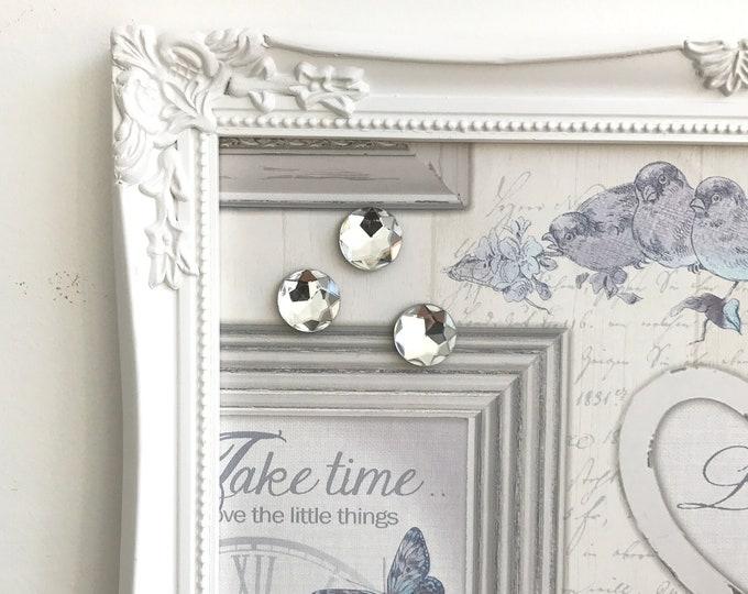 MAGNETIC VISION BOARD | WHiTE Framed Message Board | Kitchen Memo Board | Pretty Magnet Board | Decorative Vintage Style Bulletin Board