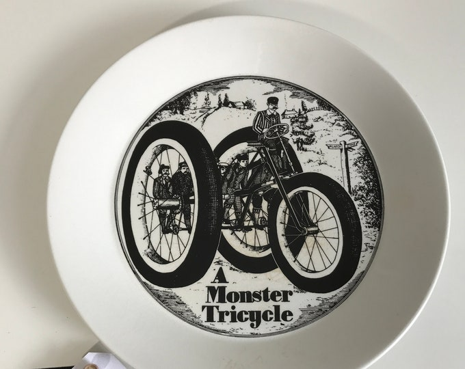 Black and White China Wall Plate Vintage 1960s Portmeirion Velocipedes Ceramic Plate Victorian Man on a Monster Tricycle Transferware Plates