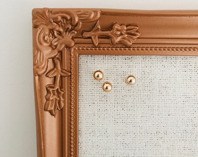 Small Copper Rose Gold Framed Pin Board | Rose Gold Ornate Vintage Style Notice Board with White Burlap Fabric over Cork Memo Board