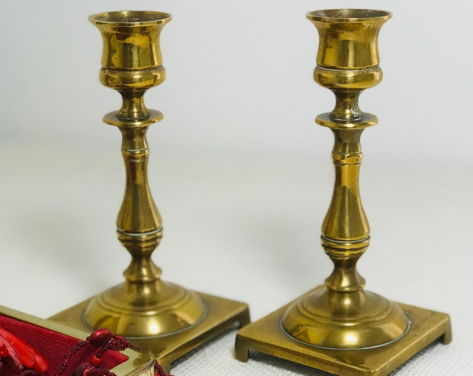 Brass Candlestick Holders Pair of Early Victorian Candlesticks 19th Century Candleholders Square Bottom Candleholders