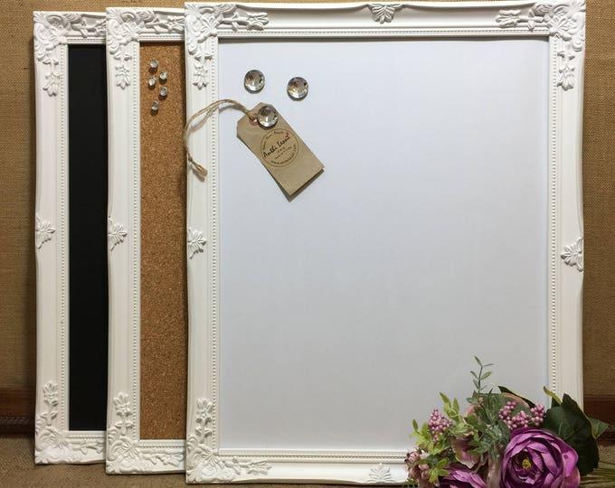 WHITE Ornate Framed Notice BOARD | White Frame Message Board | Framed Bulletin Board | Framed Vision Board | White Home Decor | Office Decor