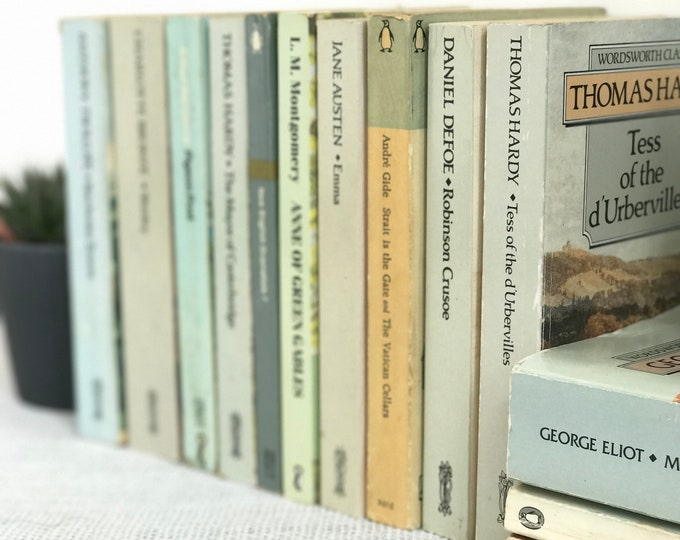 GREY BOOKS | Pastel Books | Grey Decor | Paperback Book Collection | Grey Home Decor | Neutral Decor | Contemporary Decor | Shelf Staging