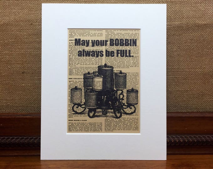 May Your Bobbin Always Be Full | Sewing Quote Print | Seamstress Gifts | Tailors Gift idea | Sewing Typography Print | Craft Room Sign