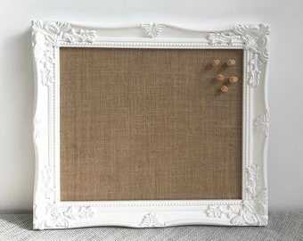 Small White Bulletin Board | Small Framed Notice Board | Small Framed Pin Board | Small Vision Board Variety of Burlap Fabric Colours