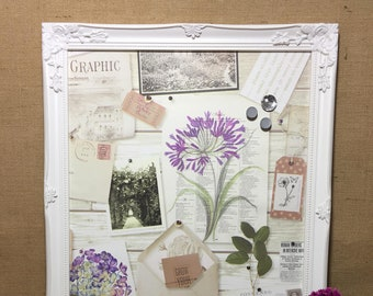 Framed Magnet Board Botanical Paper Notice Board Garden Lovers Gift Magnetic Fridge Magnet Board Organiser Choice of Frame Colours