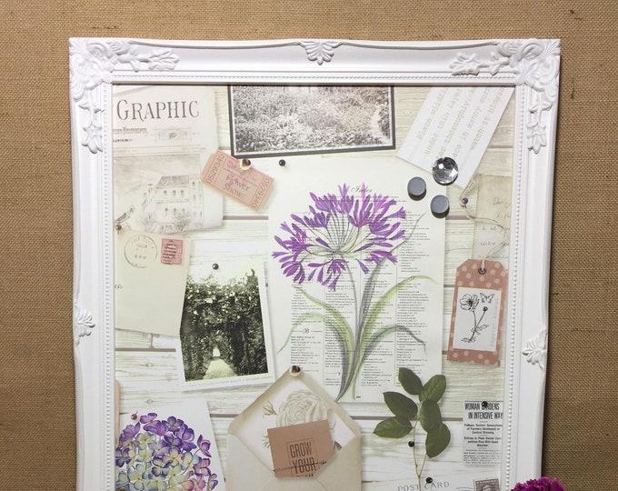 Framed Magnet Board Botanical Paper Notice Board Garden Lovers Gift Magnetic Fridge Magnet Board Organiser Choice of Frame Colours