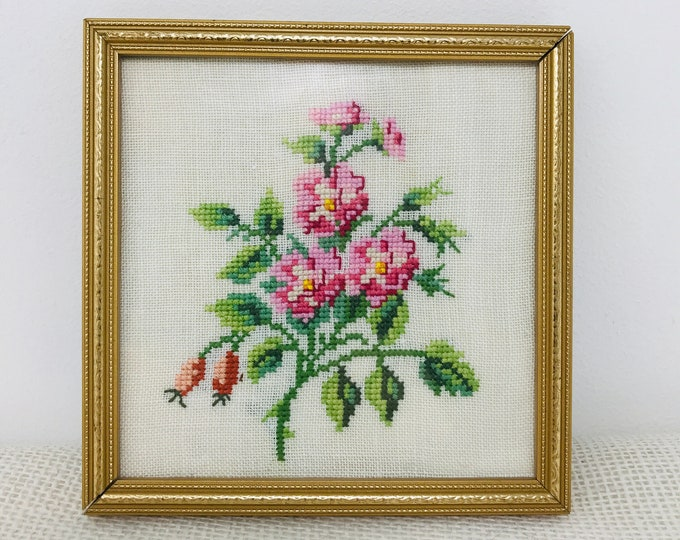 Small Vintage Cross Stitch Sampler of a bunch of Cherry Blossom Flowers | Craft Room Decor | Vintage Gold Frames Square Wall Hanging Decor