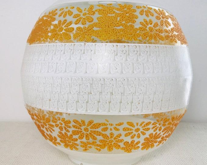 Vintage Retro Burnt Orange and White Decorative Glass Lampshade | Round Glass Striped Bowl Shaped Lampshade c1960s