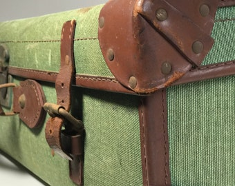 Vintage DMOB Suitcase Green Canvas Fabric Suitcase with Brown Leather Trim Vintage Home Decor Storage Solution Vintage Cases and Photo Props