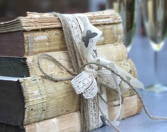 Shabby Chic Decor | Rustic Decor | Shelf Decor | Book Shelf Decor | Old Books Decor | Raw Books | Wedding Decor | Decorative Books