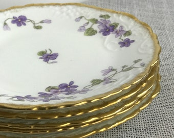 Fruit Plates | Side Plates | Plate Stack | Pretty Purple Floral Plates | China Plate Stack | Set of 5 Plates | Stonier & Co Liverpool