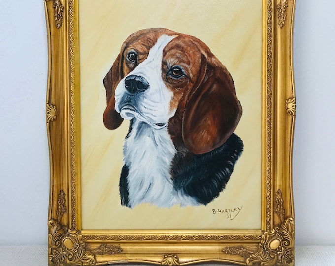 Pet Dog Portrait Oil on Canvas Vintage Gold Ornate Framed Painting of Pet Hound Signed by B. Hartley 91 Oil Painting