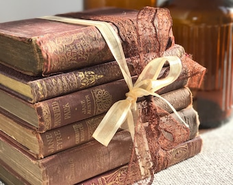 Brown Vintage Books | Brown Home Decor | Brown and Gold Decor | Small Vintage Book Stack | Shabby Chic Decor | Decorative Book Stack