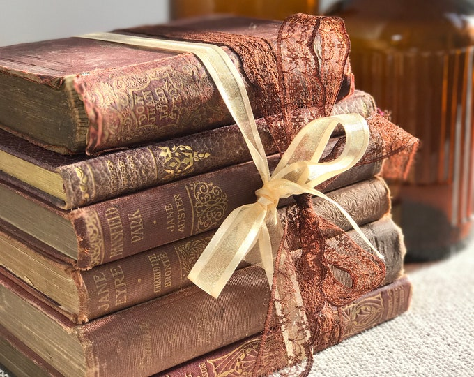 Featured listing image: Brown Vintage Books | Brown Home Decor | Brown and Gold Decor | Small Vintage Book Stack | Shabby Chic Decor | Decorative Book Stack