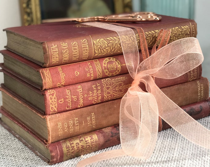 Blush Pink Books | Blush Pink Decor | Blush Pink and Gold | Small Vintage Book Stack | Small Blush Pink Vintage Books | Shabby Chic Decor