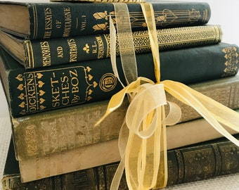 Green Vintage Books | Green Home Decor | Green and Gold Decor | Small Vintage Book Stack | Shabby Chic Decor | Decorative Book Stack