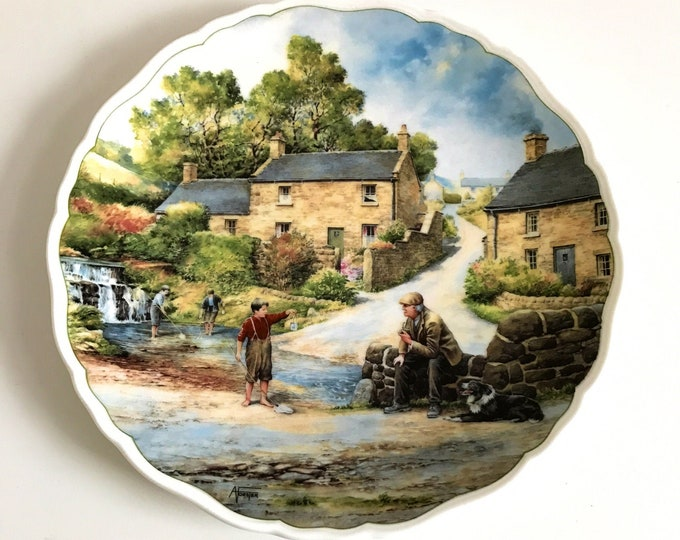 Village Life by Anthony Forster The Young Fisherman Royal Doulton Bone China Collectors Decorative Wall Plate Children Fishing Country Scene