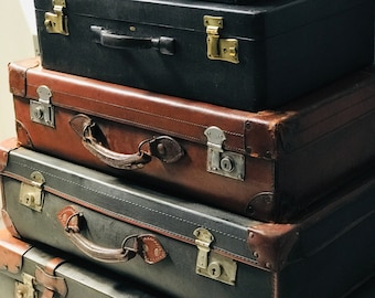 Assorted Vintage and Antique Leather Suitcases Vintage Luggage Collection For Home Interior Decor in Brown and Black Vintage Designer Cases