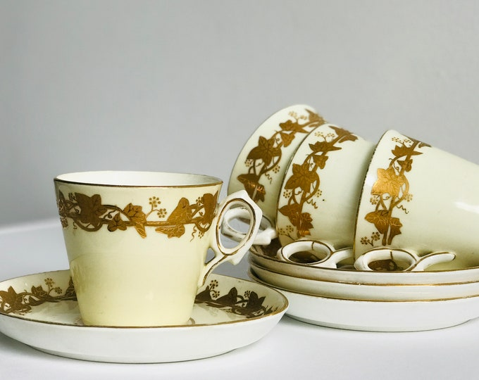 4 x Regency Coffee Cans in Cream and Gold Porcelain China Leaf Design | Set of 4 Antique Coffee Cups with Ivy Pattern Gold Leaf