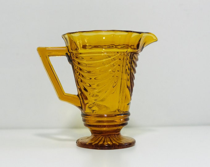 Antique Amber Art Deco Glass Pitcher Jug
