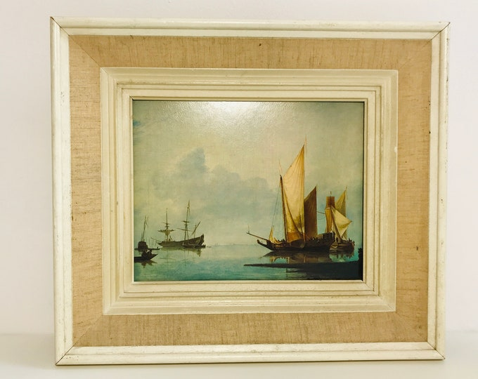 Vintage Print of Dutch Masters Yacht other Ships Framed in a White and Beige Shabby Chic Style Chunky Wood Frame