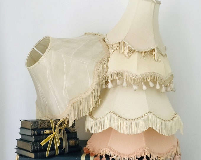 Collection of 5 Vintage Fringed Lampshades for Interior Decor Restaurant Bistro Cafe Bar Decor Custom Sourced to Order