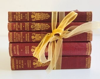 Small Red Brown and Gold Book Collection | Deep Wine Red and Gold Home Decor | Small Pretty Vintage Book Stack