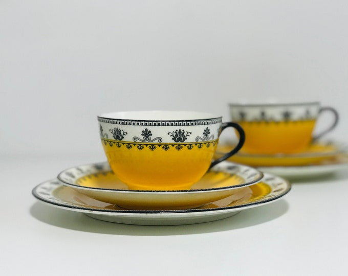 Pair of Art Deco Antique Aynsley China Tea Trios in Pattern Number A3268 | Teacup and Saucer Sets in Black and Yellow Art Deco Design