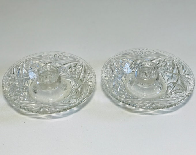 Cut Glass Candlesticks | Pair of Decorative Clear Glass Candle Holders