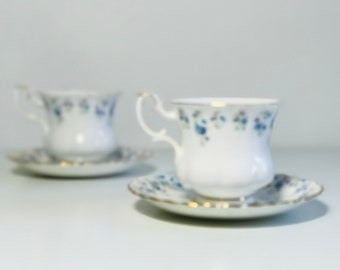 Pair of Royal Albert Demitasse Cup and Saucers Memory Lane Pattern | Bone China Tea or Coffee Cups For Two | Tea For Two