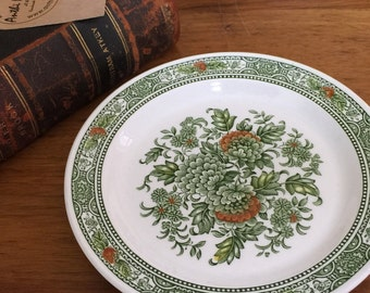 RIDGEWAY IRONSTONE CHINA Collectible Plate - Cantebury 4269 - 18cm Wide Diameter - Green and Orange Design - Made in England