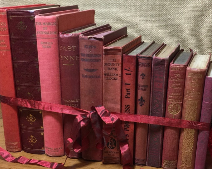 RED Vintage Books | Old Books Decoration | RED Book Collection | Vintage Books | Foot Long Books | Shelf Staging | Custom Sourced Books