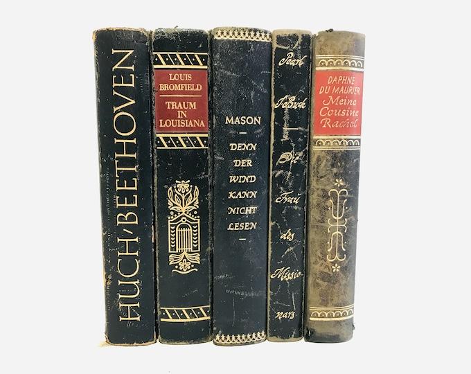 Decorative Half Leather Black Red Gold Books | Library Decor | Junk Journal Books | German Interior Design Stack of Vintage Books