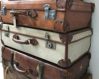 Assorted Antique Cowhide Leather Suitcases Vintage Luggage Vintage Home Decor Vintage Storage Solution Steampunk Vintage Cases Photo Props