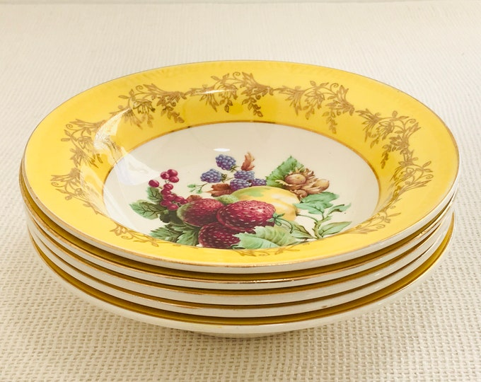 Royal Alma Yellow Fruit Bowls | Set of 5 Pretty Decorative China Deep Bowls Dessert with Gilt Edge Rim