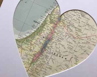 ISRAEL | JERUSALEM | Heart Map Art | Map Heart | Heart Map | Map Heart Gift | Custom Map Print | Gift For Newlyweds