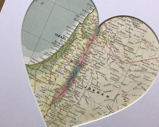 ISRAEL | JERUSALEM | Heart Map Art | Map Heart | Heart Map | Map Heart Gift | Custom Map Print | Gift For Newlyweds